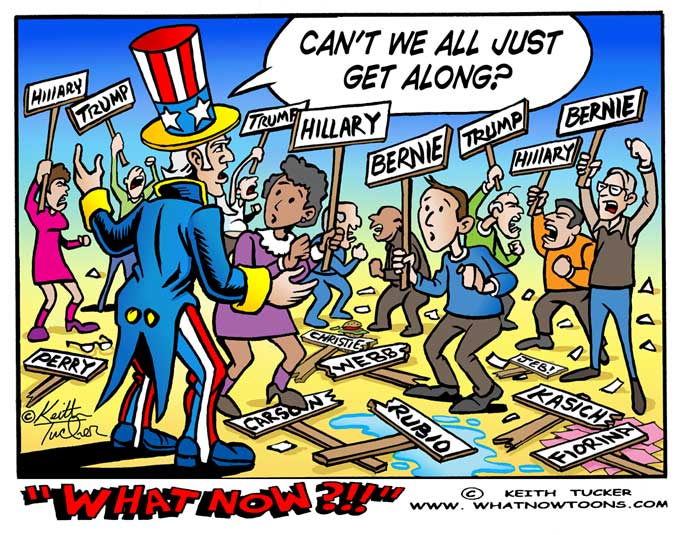 bernie,hillary,trump,jeb,rubio,fiorina,perry,carson,christie,kasich,webb,election 2016,democrats,gop,political cartoons, bernie sanders, Hillary Clinton, US Elections, election rally violence,