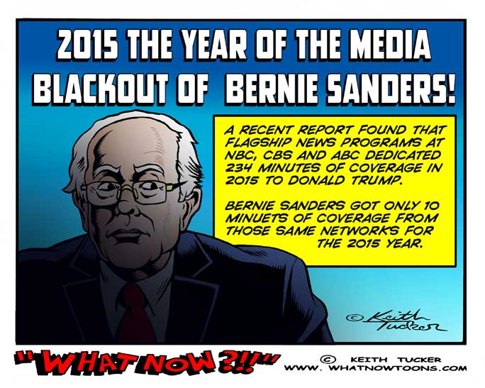 Bernie sanders cartoons, Bernie sanders media blackout, Politics, Liberal Left, Progressive, Hillary Clinton, Election 2016, Bernie Sanders  populist campaign, Bernie sanders media coverage, political cartoons, progressive cartoons