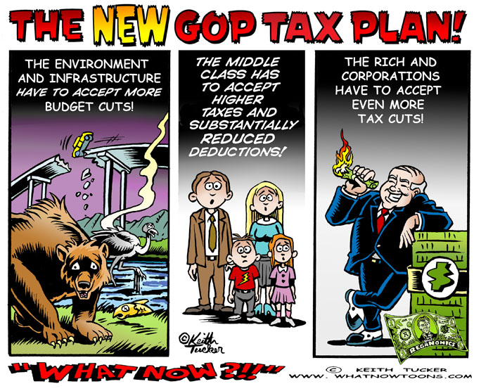 middle class, tax cuts, GOP tax plan, Trump tax plan, The One Percent,Tax Cuts For The Rich, Tax Cuts For The Wealthy,470 billion tax hike on the middle class,political cartoons